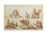 Studies of Figures and Animals Giclee Print by Louis Joseph		 Watteau