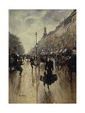 Four PM at the Carrefour Drouot and the Grand Boulevard Giclee Print by Jean Béraud