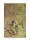 Cupid drawing an Arrow from a Quiver, in a Landscape Prints