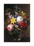 Roses, Lilies, Pansies and other Flowers in a Vase Print by Johan Laurentz		 Jensen