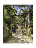 In the Shadow of an Italian Pergola, A Warm Afternoon in Anacapri Poster by Peder Mork Monsted