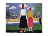 Two Figures in a Landscape Giclée-tryk af Kasimir Malevich