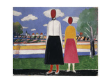 Two Figures in a Landscape Poster by Kazimir Severinovich		 Malevich