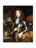 Portrait of a Commander, in Armour, holding a Baton, his Plumed Helmet on a Rock nearby Giclee Print by Caspar		 Netscher