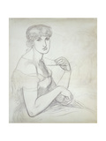 A Seated Woman Holding a Necklace, to the Right Another Female Figure Prints by Dante Gabriel Rossetti