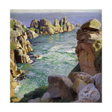Logans Rock, Porthcurno Beach, Cornwall Print by Harold		 Harvey