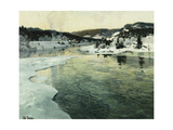 Winter on the Mesna River Near Lillehammer Poster by Frits		 Thaulow