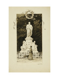 An Elegant Lady at the Statue of Goethe Giclee Print by Paul		 Fischer