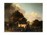 Stallion and Mare, traditionally called 'Jupiter and Mare' Print by George		 Stubbs