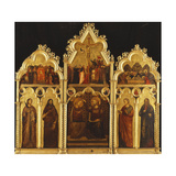 An Altarpiece in three Sections with the Coronation of the Virgin and Saints Giclee Print by Giuliano Rimini