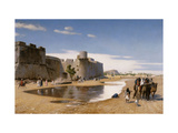 An Arab Caravan outside a Fortified Town Giclee Print by Jean Leon		 Gerome