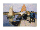 Fisherfolk on a Quayside Posters by Henri-Alphonse		 Barnoin