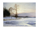 Skaters on a Frozen Pond Print by Hansen Sigvard