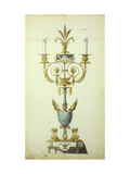 Design for a Gilt Bronze and Enamel Candelabrum Giclee Print by Jean-Louis Prieur le Vieux