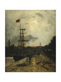Quay at Caen Giclee Print by Stanislas Lepine