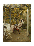 In the Pergola Giclee Print by Oscar		 Bluhm