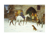 Travellers Entering the Courtyard of an Inn in Winter Giclee Print by George Wright