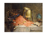 A Lobster, Shrimps and a Crab by an Urn on a Stone Ledge Prints by Magne Desire-Alfred