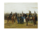 French Cuirassiers holding Bavarian Soldiers Captive Giclee Print by Jean Baptiste Edouard		 Detaille