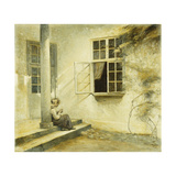 A Girl Sitting on a Porch, Liselund Giclee Print by Peter		 Ilsted
