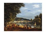 A View of Richmond Bridge with Boats on the River and Figures Promenading Art by William Turner