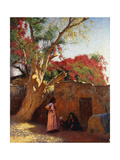 An Arab Family Outside a Village Giclee Print by Ludwig		 Deutsch