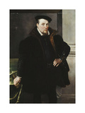 Portrait of a Gentleman in a Black Coat with Fur Lining Giclee Print by Maarten Vos