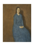 A Young Woman in Blue Premium Giclee Print by Gwen		 John