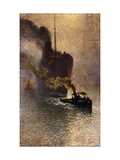 In Tow on the Thames in the Fog Giclee Print by Emile		 Claus