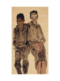 Two Seated Boys Giclee Print by Egon Schiele