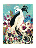 Black and White Peacock Giclee Print by Natasha Wescoat