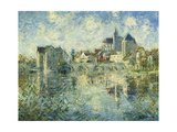 Moret-sur-Loing, the Bridge and the Church Poster by Gustave		 Loiseau