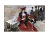 A Lady Dressed in Red Sitting in a Cafe Giclee Print by Pompeo		 Mariani