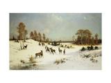 Deer in a Wooded Winter Landscape Posters par Julius Arthur Thiele