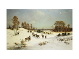 Deer in a Wooded Winter Landscape Giclee Print by Julius Arthur		 Thiele