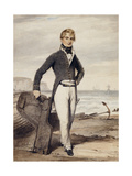 Portrait of Edward Pocock R.N. standing Beside a Beached Rowing Boat at Low Tide Giclee Print by Henry		 Edridge