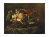 A Pineapple, Grapes, Peaches and Apricots in a Basket Art par Johan Laurentz Jensen