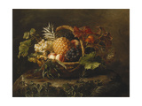 A Pineapple, Grapes, Peaches and Apricots in a Basket Art by Johan Laurentz Jensen