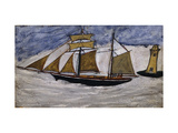 Boat and Lighthouse Premium Giclee Print by Alfred		 Wallis