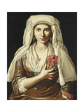 Portrait of a Young Woman, Holding a Carnation Giclee Print by Francesco		 Cozza