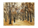 Zoological Gardens in Autumn with Figures Walking Print by Max		 Liebermann
