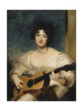 Portrait of Lady Wallscourt, a Striped Scarf Across Her Knees, Playing a Guitar Prints by Sir Thomas		 Lawrence