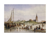 Fisherfolk on a Beach with a Town Beyond Giclee Print by Jan Geerard		 Smits