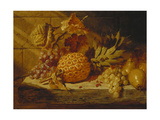 Black and White Grapes, Pears, Redcurrants and a Pineapple on a Ledge Prints by George		 Lance
