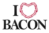 I Heart Love Bacon Plastic Sign Plastic Sign