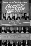 Vintage Coca Cola Bottle Cases Black White Plastic Sign Plastic Sign