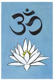 Lotus Meditation AUM Blue Plastic Sign Plastic Sign