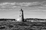 Whaleback Lighthouse Maine Black and White Plastic Sign Wall Sign