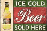 Ice Cold Beer Sold Here Plastic Sign Plastikskilt