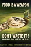 Food is a Weapon Don't Waste It WWII War Propaganda Plastic Sign Znaki plastikowe